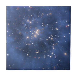 Dark Matter Ring and Galaxy Cluster in Cobalt Blue Ceramic Tile