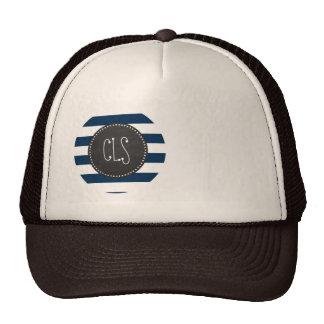Dark Midnight Blue Stripes; Retro Chalkboard Trucker Hat