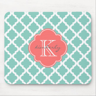 Dark Mint and Coral Moroccan Quatrefoil Print Mouse Pad
