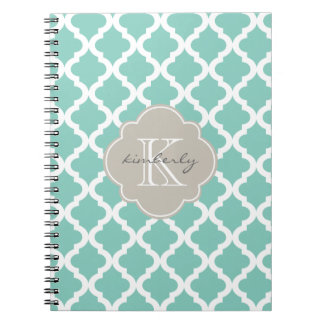 Dark Mint and Linen Moroccan Quatrefoil Print Notebook