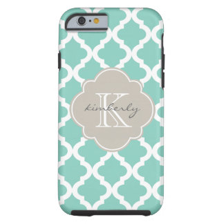 Dark Mint and Linen Moroccan Quatrefoil Print Tough iPhone 6 Case