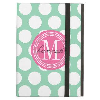 Dark Mint & Pink| Big Polka Dots Monogrammed iPad Air Cases