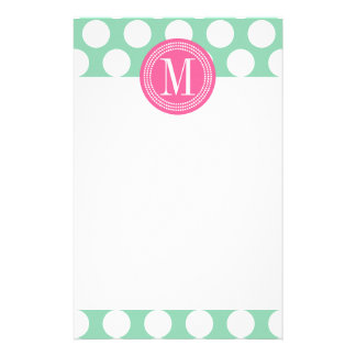 Dark Mint & Pink| Big Polka Dots Monogrammed Stationery