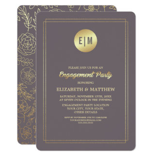 Dark Mocha | Gold Foil Engagement Party Invitation