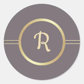 Dark Mocha   Gold Foil Monogram Wedding Stickers