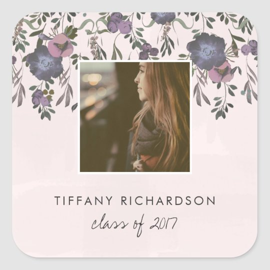 Dark Modern Floral | Photo Graduation Square Sticker