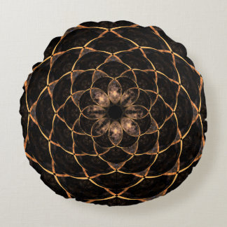 Dark Moon Mandala Round Pillow