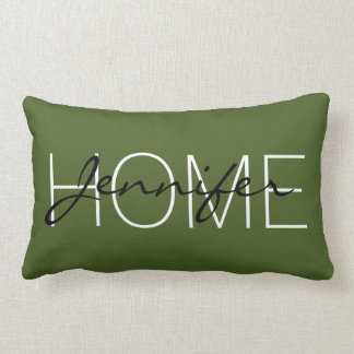 Dark moss green color home monogram lumbar pillow