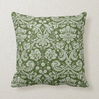Dark Moss Green Damask Throw Pillow