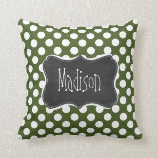 Dark Moss Green Polka Dots Throw Pillow