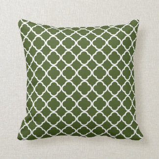 Dark Moss Green Quatrefoil Throw Pillow