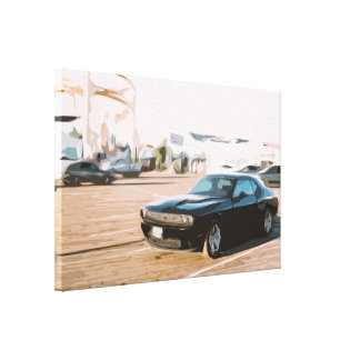 Dark Muscle Car Showing Off, Simple Design Canvas