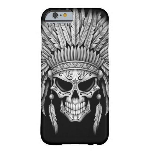 Dark Native Sugar Skull with Headdress iPhone 6 Case