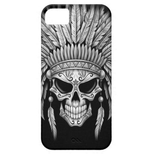 Dark Native Sugar Skull with Headdress iPhone 5 Case