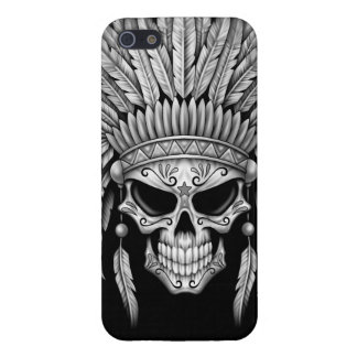 Dark Native Sugar Skull with Headdress Cover For iPhone 5