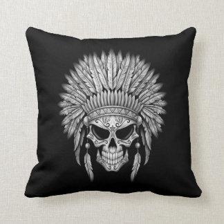 Dark Native Sugar Skull with Headdress Pillows