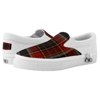 Dark Navy and Dark Red Plaid Slip On Sneakers
