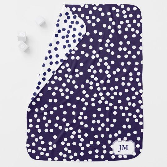 Dark Navy Blue and White Polka Dot Pattern Baby Receiving Blankets
