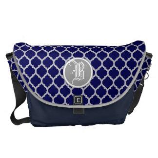 Dark Navy Blue & Gray Quatrefoil Custom Monogram Commuter Bags