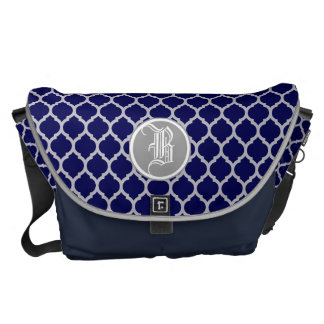 Dark Navy Blue & Gray Quatrefoil Custom Monogram Messenger Bag