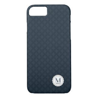 Dark Navy Blue pattern Personal Monogram for Men iPhone 7 Case