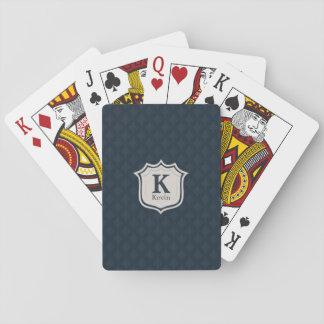 Dark Navy Blue Pattern Shield Monogram Poker Deck