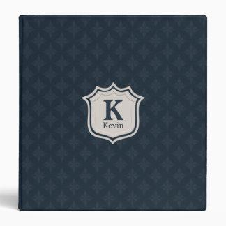 Dark Navy Blue Pattern Shield Monogram Vinyl Binder