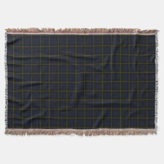 Dark navy blue plaid print, black yellow stripe throw blanket