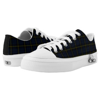 Dark navy blue plaid yellow/black stripe Low-Top sneakers
