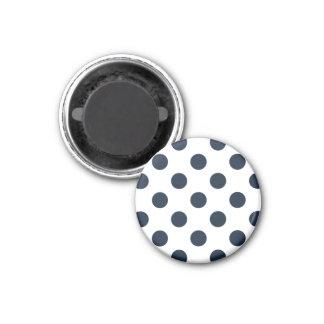 Dark navy blue polka dots 1 inch round magnet