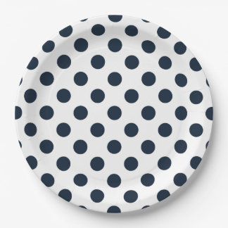 Dark navy blue polka dots 9 inch paper plate