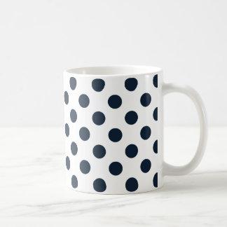 Dark navy blue polka dots coffee mug