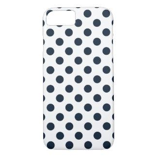 Dark navy blue polka dots iPhone 7 case