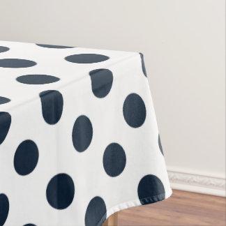 Dark navy blue polka dots tablecloth