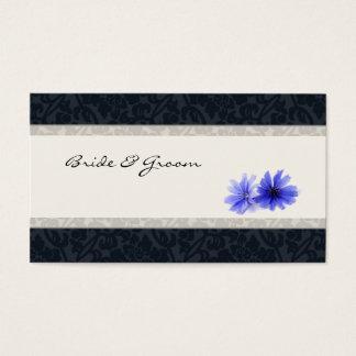 Dark Navy Floral Damask Place Cards, Ivory Business Card