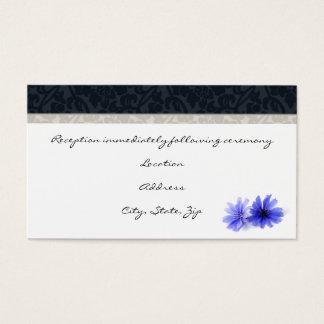 Dark Navy Floral Damask Reception Cards