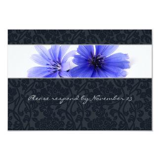 Dark Navy Floral Damask rsvp with envelope Card