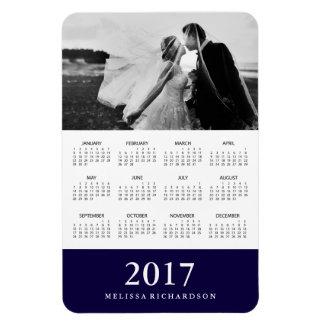 Dark Navy Stripe   Elegant 2017 Photo Calendar Rectangular Photo Magnet