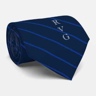 Dark Navy Stripes Custom Initials Medical Tie