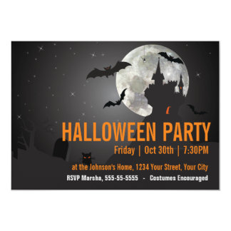 Dark Night Halloween Party Card