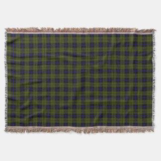 Dark Odee green plaid print, black blue stripe Throw Blanket