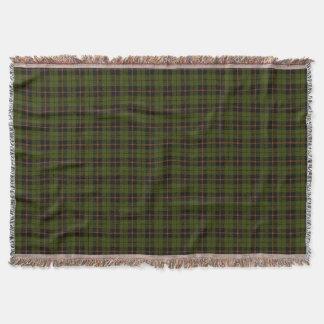 Dark Odee green plaid print, black ogange stripe Throw Blanket