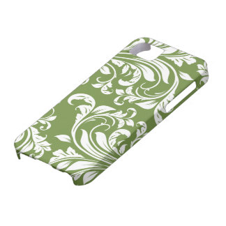 Dark Olive Green and white floral damask iPhone 5 Covers