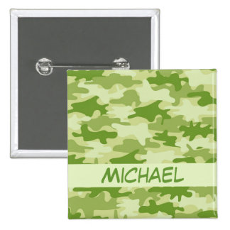 Dark Olive Green Camo Camouflage Name Personalized 2 Inch Square Button