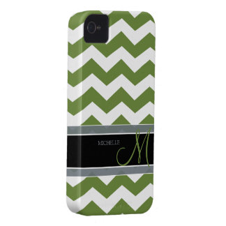 Dark Olive Green Zig Zag Pattern with monogram iPhone 4 Case-Mate Case