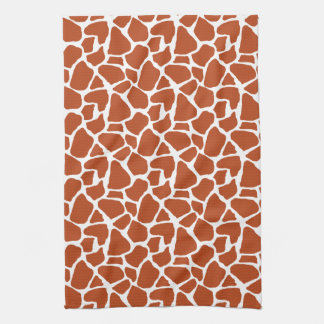 Dark Orange Giraffe Pattern Kitchen Towel