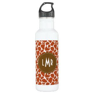 Dark Orange Giraffe Pattern Monogram 710 Ml Water Bottle