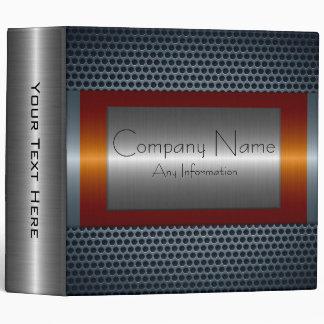 Dark Orange Metallic Stainless Steel Look Vinyl Binder