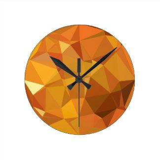 Dark Orange Yellow Abstract Low Polygon Background Wallclock