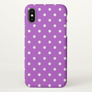 Dark orchid polka dots iPhone x case